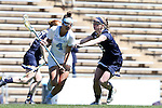 03 April 2016: North Carolina's Marie McCool (4) and Notre Dame's Alex Dalton (12). The University of North Carolina Tar Heels hosted the University of Notre Dame Fighting Irish in a 2016 NCAA Division I Women's Lacrosse match. Maryland won the game 14-8.