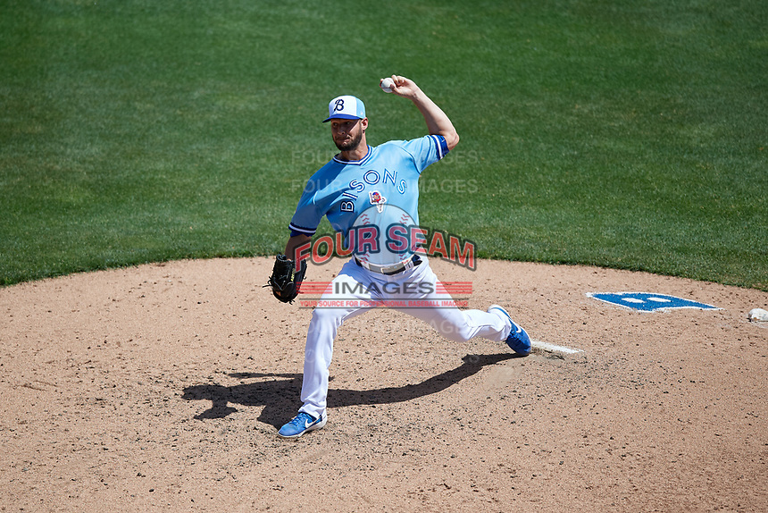 Buffalo Bisons relief pitcher Matt Dermody (45) during an International League game against the Lehigh Valley IronPigs on June 9, 2019 at Sahlen Field in Buffalo, New York.  Lehigh Valley defeated Buffalo 7-6 in 11 innings.  (Mike Janes/Four Seam Images)