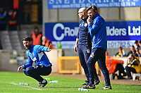 Lincoln City manager Danny Cowley, left and Nicky Cowley, right,  in their technical area<br /> <br /> Photographer Andrew Vaughan/CameraSport<br /> <br /> The EFL Sky Bet League Two - Port Vale v Lincoln City - Saturday 14th April 2018 - Vale Park - Burslem<br /> <br /> World Copyright &copy; 2018 CameraSport. All rights reserved. 43 Linden Ave. Countesthorpe. Leicester. England. LE8 5PG - Tel: +44 (0) 116 277 4147 - admin@camerasport.com - www.camerasport.com