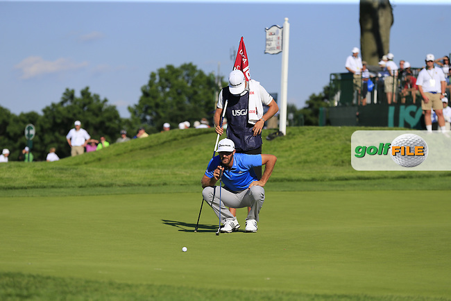 Dustin Johnson (USA) lines up his putt on the 18th green during Friday's Round 2 of the 2016 U.S. Open Championship held at Oakmont Country Club, Oakmont, Pittsburgh, Pennsylvania, United States of America. 17th June 2016.<br /> Picture: Eoin Clarke | Golffile<br /> <br /> <br /> All photos usage must carry mandatory copyright credit (&copy; Golffile | Eoin Clarke)
