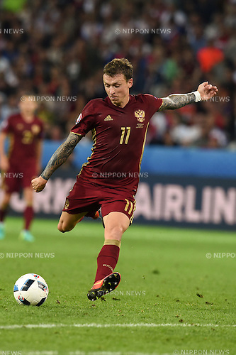 Pavel Mamaev (Russia) ; <br /> June 15, 2016 - Football : Uefa Euro France 2016, Group B, Russia 1-2 Slovakia at Stade Pierre Mauroy, Lille Metropole, France.; ;(Photo by aicfoto/AFLO)