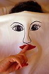 Woman Wearing Painted Face on Sheet