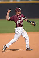Third baseman Mickey Wiswall #17 of the Boston College Eagles makes a throw to first base at Wake Forest Baseball Park April 11, 2009 in Winston-Salem, NC. (Photo by Brian Westerholt / Four Seam Images)