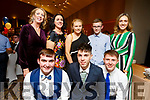 Castleisland Community College students nominated for an award at the Garda Youth Achievement Awards in the Ballyroe Heights Hotel on Friday night. Kneeling l to r: Kevin Lenihan, Eamon Nolan and James McDonald.<br /> Back l to r: Theresa Lonergan (Principal), Juanita Lovett, Ava Fitzmaurice, Nathan Egan and Cait McEllistrem.