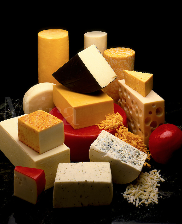 A variety of cheeses.