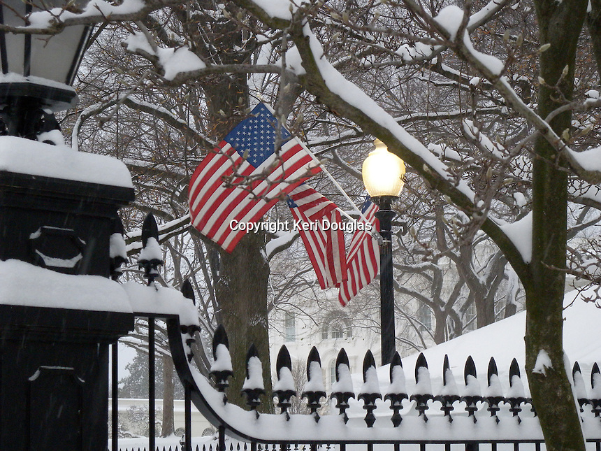 White House American flags waiving in the snow early morning with a view of the East side of the Residence.
