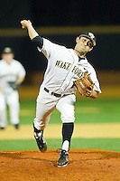 Relief pitcher Gabe Feldman #24 of the Wake Forest Demon Deacons in action against the Charlotte 49ers at Gene Hooks Field on March 22, 2011 in Winston-Salem, North Carolina.   Photo by Brian Westerholt / Four Seam Images