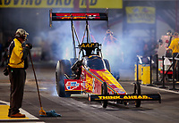 Apr 12, 2019; Baytown, TX, USA; NHRA top fuel driver Brittany Force during qualifying for the Springnationals at Houston Raceway Park. Mandatory Credit: Mark J. Rebilas-USA TODAY Sports