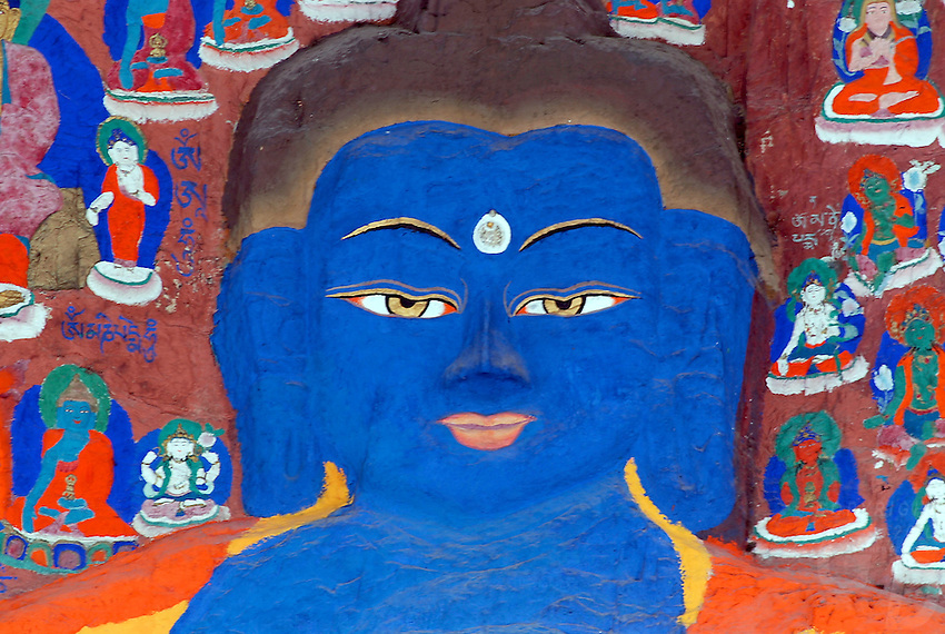 Buddhist paintings near a Lhasa worship site, on the western cliff of the Yaowang Mountain, also called the thousend images of Buddha a very important pilgrim site