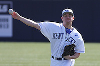 University of Kentucky Wildcats pitcher Spencer Jack #34 throwing in the outfield before a game against the University of Virginia Cavaliers at Brooks Field on the campus of the University of North Carolina at Wilmington on February 14, 2014 in Wilmington, North Carolina. Kentucky defeated Virginia by the score of 8-3. (Robert Gurganus/Four Seam Images)