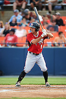 Carolina Mudcats right fielder Keith Curcio (9) at bat during a game against the Frederick Keys on June 4, 2016 at Nymeo Field at Harry Grove Stadium in Frederick, Maryland.  Frederick defeated Carolina 5-4 in eleven innings.  (Mike Janes/Four Seam Images)