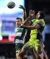 Josh Beaumont of Sale Sharks competes with Tom Croft of Leicester Tigers for the ball at a lineout. Aviva Premiership match, between Leicester Tigers and Sale Sharks on February 6, 2016 at Welford Road in Leicester, England. Photo by: Patrick Khachfe / JMP