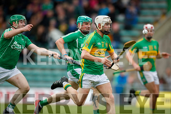 Cathal Kearney and Ally O'Connor Ballyduff in action against Ricky Heffernan Lixnaw in the Senior County Hurling Final in Austin Stack Park on Sunday