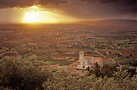 Basilica of Saint Francis at sunset, Valley of Spoletto in background, town of Assisi, Umbria, Italy, AGPix_0511...