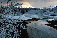 Morning snow in Juneau along the Mendenhall RIver.