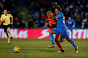 12th January 2018, Estadio Coliseum Alfonso Perez, Getafe, Spain; La Liga football, Getafe versus Malaga; Damian Suarez (Getafe CF) fights for control of the ball
