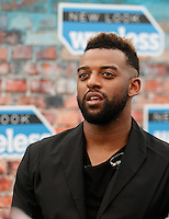 OWS (Oritse Williams of JLS) gives an interview during The New Look Wireless Music Festival at Finsbury Park, London, England on Saturday 04 July 2015. Photo by Andy Rowland.