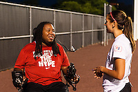 Eric LeGrand talks with Portland Thorns forward Alex Morgan (13) after th match. Sky Blue FC and the Portland Thorns played to a 0-0 tie during a National Women's Soccer League (NWSL) match at Yurcak Field in Piscataway, NJ, on June 22, 2013.