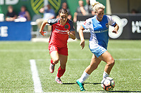 Portland, OR - Saturday August 05, 2017: Hayley Raso, Camille Levin during a regular season National Women's Soccer League (NWSL) match between the Portland Thorns FC and the Houston Dash at Providence Park.