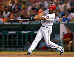 4 August 2007: Washington Nationals infielder D'Angelo Jimenez in action against the St. Louis Cardinals at RFK Stadium in Washington, DC. The Nationals defeated the Cardinals 12-1 in the second game of their 3-game series...Mandatory Photo Credit: Ed Wolfstein Photo