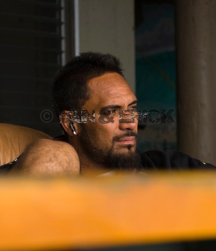 Hawaiian Kainoa McGee at the Volcom house on the Northshore of Hawaii.