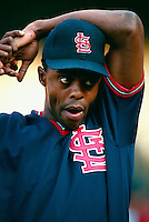 Delino DeShields of the St.Louis Cardinals during a game at Dodger Stadium in Los Angeles, California during the 1997 season.(Larry Goren/Four Seam Images)