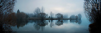 Panoramic Shot of the Kelland Pond Reflections on a Misty Winter's Day, Mackenzie District, Christopher David Thompson