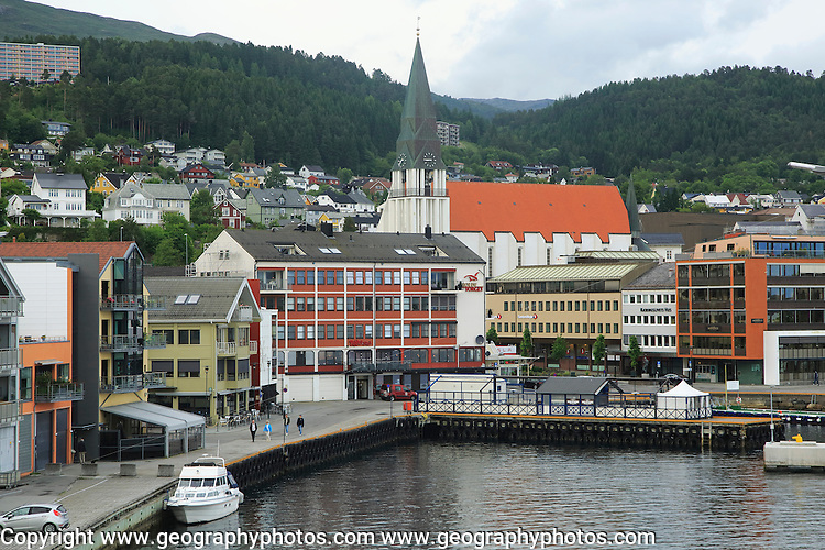 View of buildings in city centre Molde, Romsdal county, Norway