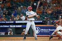 Heston Kjerstad (18) of the Arkansas Razorbacks at bat against the Texas Longhorns in game six of the 2020 Shriners Hospitals for Children College Classic at Minute Maid Park on February 28, 2020 in Houston, Texas. The Longhorns defeated the Razorbacks 8-7. (Brian Westerholt/Four Seam Images)