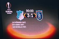 Anzeigetafel, Screen, Screenboard, digital, LED, Anzeige, Monitor,Ergebnis, Endergebnis Nachspielzeit<br /> TSG 1899 HOFFENHEIM - ISTANBUL Basaksehir  3-0<br /> Gruppe C, Football UEFA Europa League, Hoffenheim, 19.10.2017<br /> EL Saison 2017/2018<br /> <br />  *** Local Caption *** © pixathlon +++ tel. +49 - (040) - 22 63 02 60 - mail: info@pixathlon.de