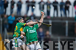 Aidan Boyle Ballyduff in action against Maurice Corridan Lixnaw in the Senior County Hurling Final in Austin Stack Park on Sunday