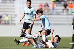 08 March 2015: E-Land's Lee Jae-An (KOR) (16) and Carolina's Leo Osaki (JPN) (below) get tangled up. The Carolina RailHawks of the North American Soccer League played Seoul E-Land FC of the K-League Challenge at WakeMed Stadium in Cary, North Carolina in a 2015 preseason friendly for both clubs. The game ended in a 0-0 tie. Afterwards, Seoul E-Land won a penalty kick shootout 5-4.