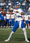 San Jose State quarterback Montel Aaron (7) throws against Nevada in the first half of an NCAA college football game in Reno, Nev. Saturday, Nov. 11, 2017. (AP Photo/Tom R. Smedes)