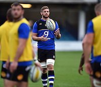 Dave Attwood of Bath Rugby with the ball during the pre-match warm-up. West Country Challenge Cup match, between Bath Rugby and Exeter Chiefs on October 10, 2015 at the Recreation Ground in Bath, England. Photo by: Patrick Khachfe / Onside Images