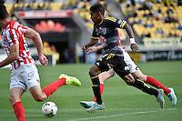 Roy Krishna in action during the A League - Wellington Phoenix v Melbourne City at Westpac Stadium, Wellington, New Zealand on Sunday 30 November 2014.