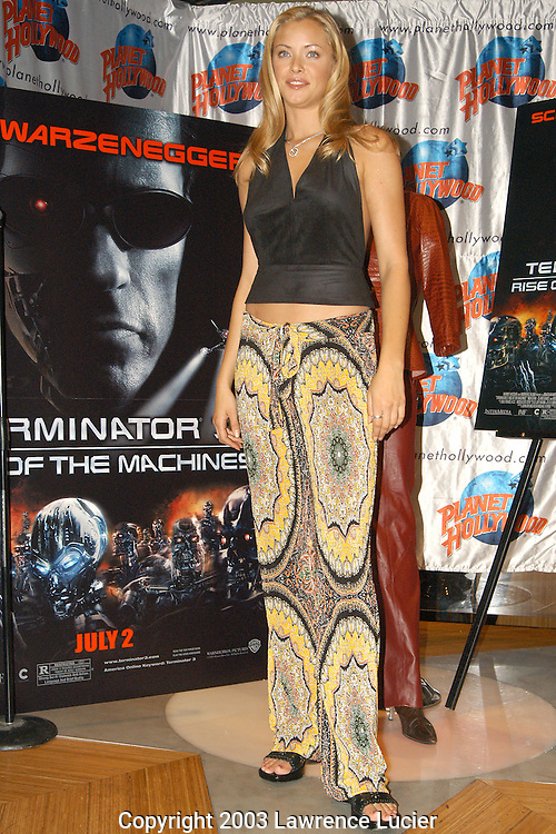 NEW YORK - JUNE 24: Actress Kristanna Loken appears with her costumer from Terminator 3 June 24, 2003, at Planet Hollywood in New York City.