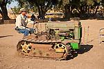 EDGE & TA Branch 158 Threshing Show and old-time harvest..John Boehm with his 1946 John Deere BO Lindeman crawler tractor