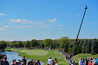 A view of 1 from the tee box during round 4 Singles of the 2017 President's Cup, Liberty National Golf Club, Jersey City, New Jersey, USA. 10/1/2017. <br /> Picture: Golffile | Ken Murray<br /> <br /> All photo usage must carry mandatory copyright credit (&copy; Golffile | Ken Murray)