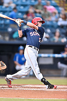 Hagerstown Suns second baseman Ian Sagdal (13) runs to first base during a game against the  Asheville Tourists at McCormick Field on September 2, 2016 in Asheville, North Carolina. The Suns defeated the Tourists 5-1. (Tony Farlow/Four Seam Images)