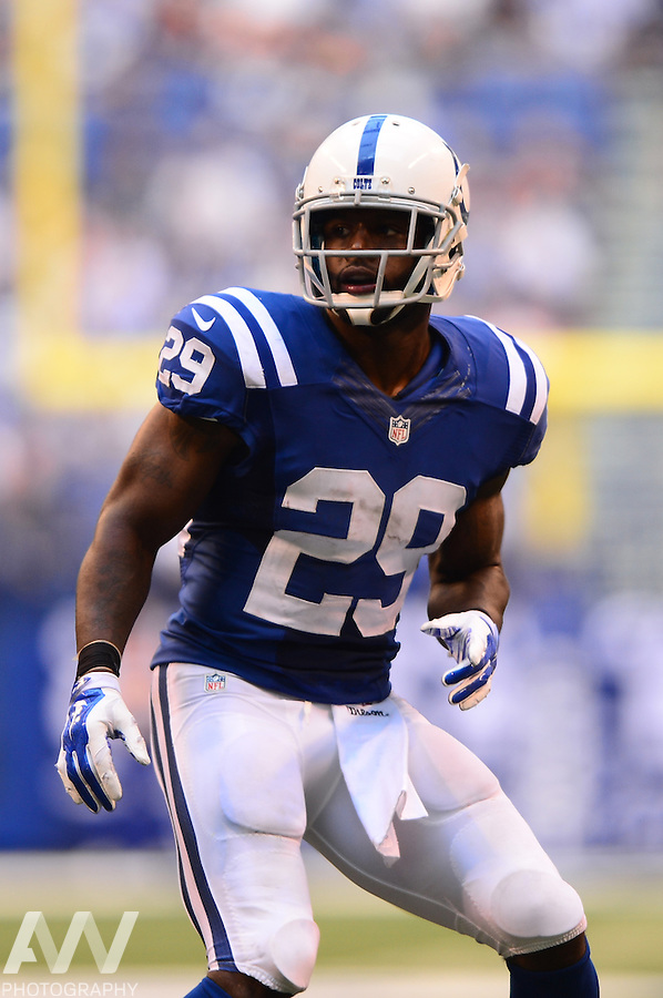 Sep 28, 2014; Indianapolis, IN, USA; Indianapolis Colts strong safety Mike Adams (29) against the Tennessee Titans at Lucas Oil Stadium. Mandatory Credit: Andrew Weber-USA TODAY Sports