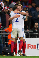England's Harry Kane celebrates scoring the opening goal with team mate Kyle Walker <br /> <br /> Photographer Craig Mercer/CameraSport<br /> <br /> FIFA World Cup Qualifying - European Region - Group F - England v Solvenia - Thursday 5th October 2017 - Wembley Stadium - London<br /> <br /> World Copyright &copy; 2017 CameraSport. All rights reserved. 43 Linden Ave. Countesthorpe. Leicester. England. LE8 5PG - Tel: +44 (0) 116 277 4147 - admin@camerasport.com - www.camerasport.com