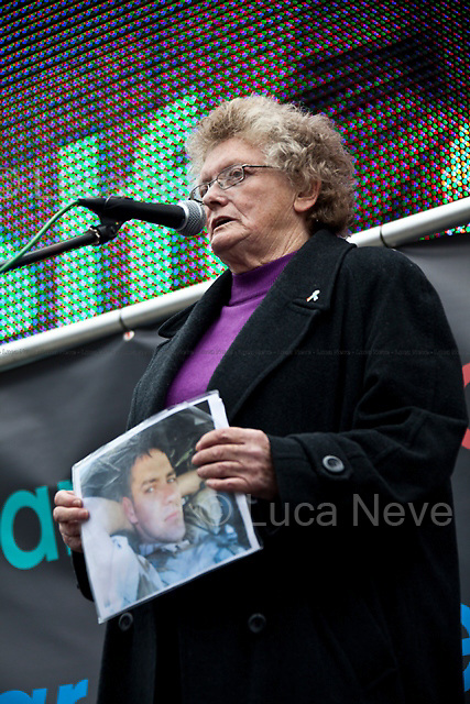 Joan Humpheries (Her Grandson was killed in Afghanistan).<br /> <br /> London, 08/10/2011. Today Trafalgar Square was the stage of the &quot;Antiwar Mass Assembly&quot; organised by The Stop The War Coalition to mark the 10th Anniversary of the invasion of Afghanistan. Thousands of people gathered in the square to listen to speeches given by journalists, activists, politicians, trade union leaders, MPs, ex-soldiers, relatives and parents of soldiers and civilians killed during the conflict, and to see the performances of actors, musicians, writers, filmmakers and artists. The speakers, among others, included: Jeremy Corbin, Joe Glenton, Seumas Milne, Brian Eno, Sukri Sultan and Shadia Edwards-Dashti, Hetty Bower, Mark Cambell, Sanum Ghafoor, Andrew Murray, Lauren Booth, Kate Hudson, Sami Ramadani, Yvone Ridley, Mark Rylance, Dave Randall, Roger Lloyd-Pack, Rebecca Thorn, Sanasino al Yemen, Elvis McGonagall, Lowkey (Kareem Dennis), Tony Benn, John Hilary, Bruce Kent, John Pilger, Billy Hayes, Alison Louise Kennedy, Joan Humpheries, Jemima Khan, Julian Assange, Lindsey German, George Galloway. At the end of the speeches a group of protesters marched toward Downing Street where after a peaceful occupation the police made some arrests.