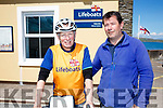 Steve McAllister on the left who is cycling around the coast of Britain &Ireland visiting all 237 Lifeboat Stations raising funds for the RNLI, pictured here in at Valentia Station with Skipper Richard Quigley on Thursday last.