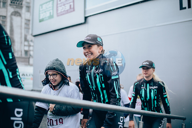 Bigla Pro Cycling Team at team presentation before the 2019 Liège-Bastogne-Liège Femmes,  running 138.5km from Bastogne to Liege, Belgium. 27th April 2019<br /> Picture: ASO/Thomas Maheux | Cyclefile<br /> All photos usage must carry mandatory copyright credit (© Cyclefile | ASO/Thomas Maheux)