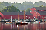 View of Mystic Seaport over the Mystic River, Mystic, CT, USA