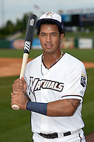 NW Arkansas Naturals third baseman Cheslor Cuthbert (11) poses for a photo after a game against the Corpus Christi Hooks on May 26, 2014 at Arvest Ballpark in Springdale, Arkansas.  NW Arkansas defeated Corpus Christi 5-3.  (Mike Janes/Four Seam Images)