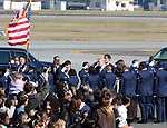 November 5, 2017, Tokyo, Japan - U.S. President Donald Trump, accompanied by his wife Melania (R) salutes upon his arrival at the Yokota Air Base in Tokyo on Sunday, November 5, 2017. Trump arrived here on a three0day official visit to Japan for the first leg of his Asian tour.    (Photo by Yoshio Tsunoda/AFLO) LWX -ytd-