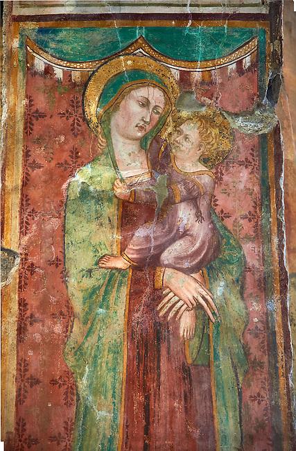 14th century Madonna with Child Fresco in the Basilica Church of Santa Maria Maggiore, Tuscania