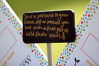 Pictured: A Send a Postcard sign Saturday 13 August 2016<br /> Re: Grow Wild event at  Furnace to Flowers site in Ebbw Vale, Wales, UK