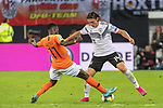 06.09.2019, Volksparkstadion, HAMBURG, GER, EMQ, Deutschland (GER) vs Niederlande (NED)<br /> <br /> DFB REGULATIONS PROHIBIT ANY USE OF PHOTOGRAPHS AS IMAGE SEQUENCES AND/OR QUASI-VIDEO.<br /> <br /> im Bild / picture shows<br /> <br /> Quincy PROMES (Niederlande / NED #11)<br /> Nico Schulz (Deutschland / GER #14)<br /> <br /> während EM Qualifikations-Spiel Deutschland gegen Niederlande  in Hamburg am 07.09.2019, <br /> <br /> Foto © nordphoto / Kokenge